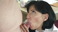 Doctor babe seduces grandpa with blowjob and riding