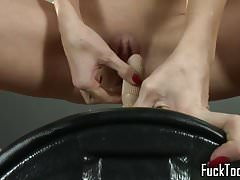 Solo babes ride sybian wearing santa hat