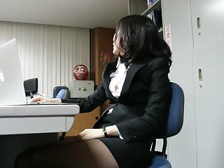 Japanese non nude upskirts - Office girl tease ripped pantyhose non-nude
