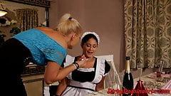 Dominatrix lesbian punishing her maid