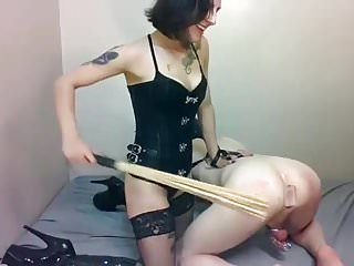 Hot mistress pegs slave