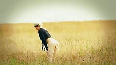 in a wheat field