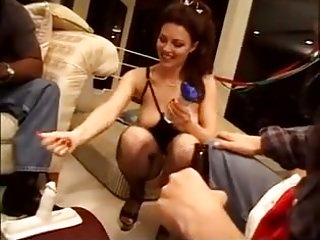 Slut wife fucks gang at home (Amazing tits)