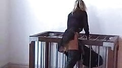 Lisa Berlin trains Strap-on Slaves in her cage!