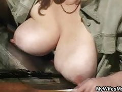 His wife finds them fucking outside