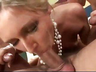 Hot girl having fun with three guys