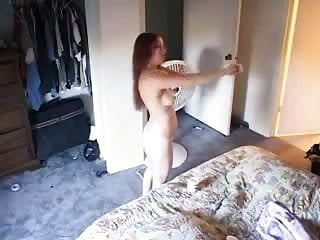 Great view of my sister fully nude in bed room. Hidden cam