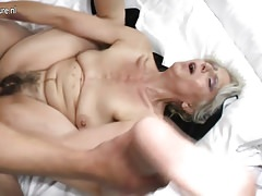 Hairy grandma hard fucked by young lover Thumbnail