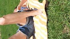 Upshorts in the park, no panties?