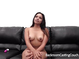 Preview 3 of Anal Creampie for Black Asian Babe on Casting Couch