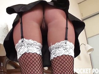 Find skimpy trashy lingerie - Hot french maid finds her masters sex toy