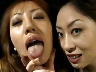 Hotjapanese girls kissing.sharing cum and swapping cum