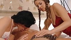 Leonie Saint and other girl making a guy happy