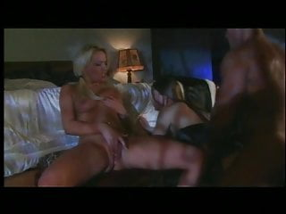 Busty blond and brunette get tight pussies fucked by big white cock