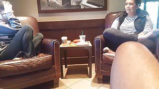 Dick flash 2 chicks in Starbucks