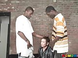 Black men sharing the ass of a hesitating whie guy
