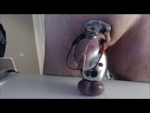 Electro stimulation in chastity cage for fembbwdom