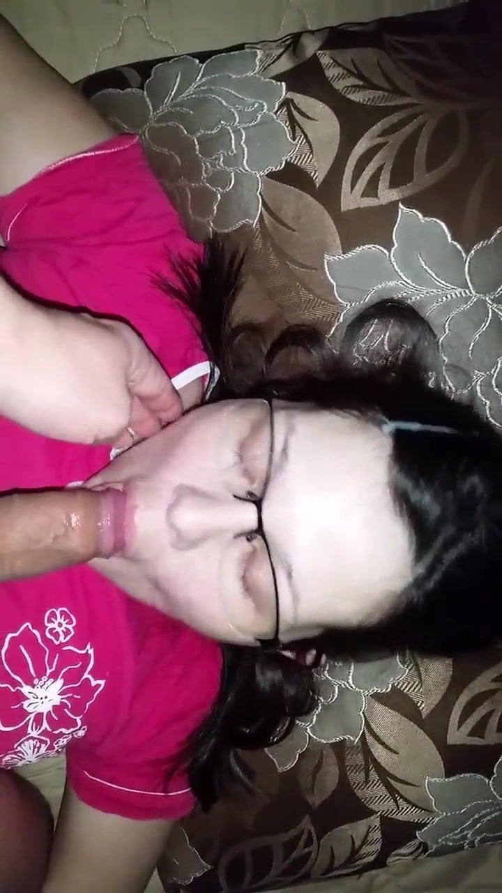 Russian girl in glasses suck cock and facial