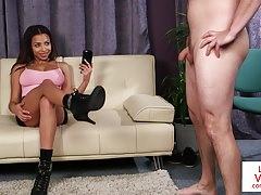 Busty ebony femdom gives joi and films it Thumbnail