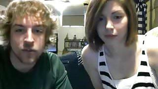 Teen couple sucking fingering smoking  on cam