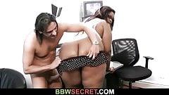 Black BBW secretary rides her boss's cock