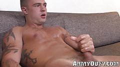 Reality solo masturbation video with tattooed jock soldier