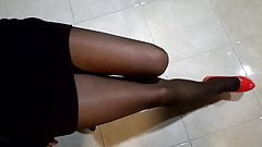 My legs are in nylon pantyhose