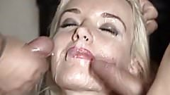 Blonde gets two loads all over her face