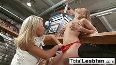 Blonde babes Mia and Tea have lesbian sex at the bar
