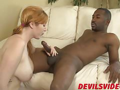 Handsome redhead babe is eager to jump on that black cock