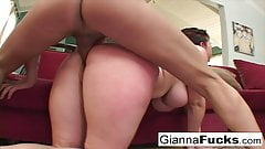Insatiable Gianna Michaels drains two cocks of their cum