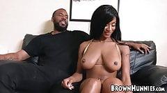 Ebony Sarai Minx sucking big cock before BBC cowgirl