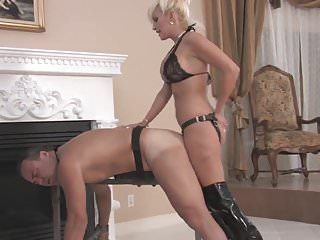Sexy Blonde Mistress Strapon Fucks Bound Slave