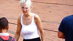 Braless saggy Tits candid