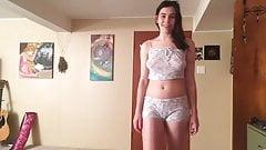 Beautiful Vegan Woman in Bra and Panties