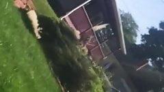 Milf neighbor mowing ass