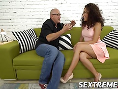 Big Bruno fucks horny Petite Meldy till she squirt many time