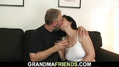 Old woman in white lingerie in threesome orgy