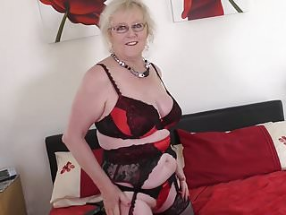 Old British grandma with very hungry vagina