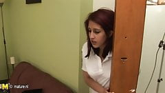 Student babe getting a hard lesson from mature teacher