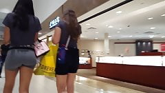 Candid voyeur perfect teen ass spandex at shopping mall
