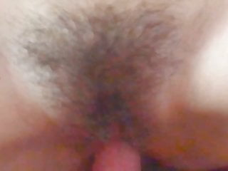 Shoot a big cumshot on hairy pussy and body of my wife