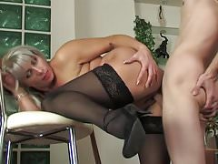 Hot russian saggy tits mommy fucks young guy stockings Thumbnail