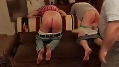 Daddy Spank thrash beat cane paddle two naughty guys
