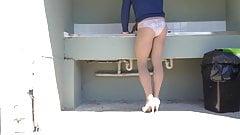 Pantyhose at public wash area .