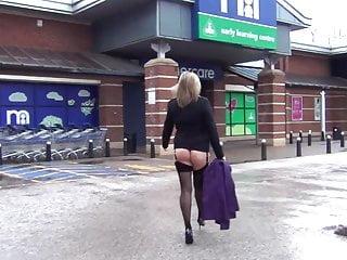 Sam Goes Window Shopping in Stockings & Heels