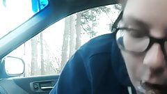 White tenant gives me head in the car