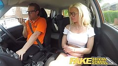 Fake Driving School Sexy busty blonde babe creampied on firs