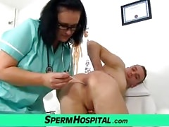 Dirty nurse cougar Danielle and boy handjob