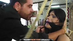Tranny babe in bondage getting her big ass fucked by a stud
